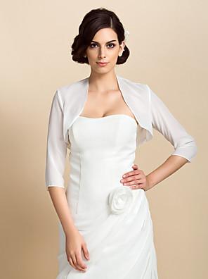 cheap Wedding Wraps-Coats / Jackets Chiffon Wedding / Party Evening Wedding  Wraps / Bolero With Draping / Solid