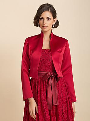 cheap Wedding Wraps-Coats / Jackets Satin Wedding / Party Evening / Casual Wedding  Wraps / Bolero With Draping / Solid