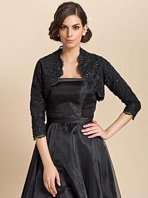 cheap Wedding Wraps-Long Sleeve Coats / Jackets Lace Wedding / Party Evening / Casual Wedding  Wraps / Bolero With Sequin