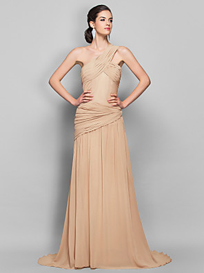cheap Special Occasion Dresses-Sheath / Column Open Back Formal Evening Military Ball Dress One Shoulder Sleeveless Sweep / Brush Train Georgette with Criss Cross Side Draping 2020