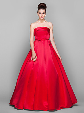 cheap Free Shipping-Ball Gown Elegant Red Quinceanera Prom Dress Strapless Sleeveless Floor Length Satin with Bow(s) 2020