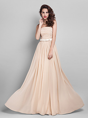 cheap Special Occasion Dresses-Sheath / Column Elegant Minimalist Pastel Colors Prom Formal Evening Dress Strapless Sleeveless Floor Length Georgette with Sash / Ribbon Bow(s) Ruched 2020
