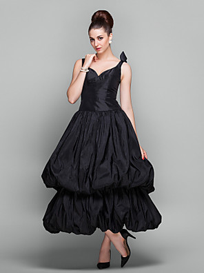 cheap Special Occasion Dresses-Ball Gown 1950s Vintage Inspired Holiday Cocktail Party Prom Dress V Neck Ankle Length Taffeta with Pick Up Skirt 2020