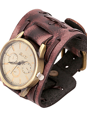 cheap Quartz Watches-Fashion Watch 20cm Men's Brown Leather Leather Bracelet(Brown)(1 Pc)