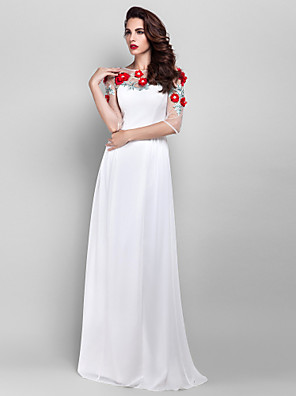 cheap Special Occasion Dresses-Sheath / Column Elegant Floral Prom Formal Evening Dress Illusion Neck Half Sleeve Floor Length Chiffon with Pearls Beading Appliques 2020 / Illusion Sleeve