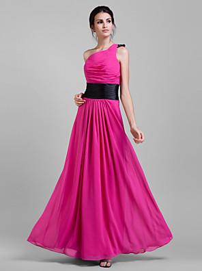 cheap Bridesmaid Dresses-Sheath / Column One Shoulder Floor Length Chiffon Bridesmaid Dress with Sash / Ribbon / Pleats / Draping