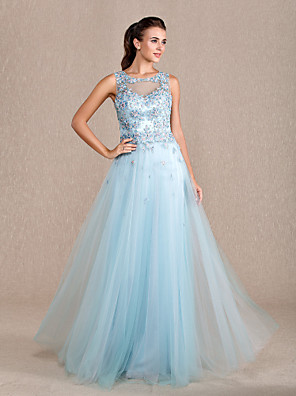 cheap Special Occasion Dresses-Sheath / Column Beautiful Back Prom Formal Evening Military Ball Dress Jewel Neck Floor Length Tulle with Beading Appliques 2020