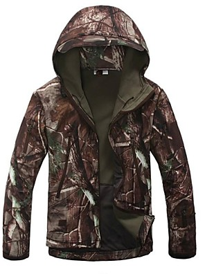 cheap Hiking Trousers & Shorts-Men's Camouflage Hunting Jacket Camo / Camouflage Winter Outdoor Thermal / Warm Windproof Breathable Rain Waterproof Fleece Jacket Hoodie Softshell Jacket Camping / Hiking Hunting Fishing Tan
