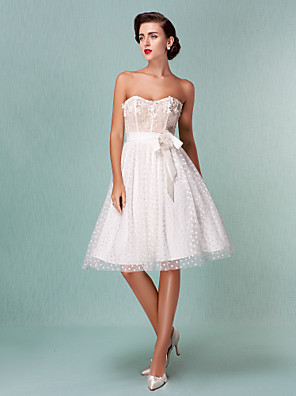 cheap Bridesmaid Dresses-Princess A-Line Wedding Dresses Sweetheart Neckline Knee Length Tulle Strapless Little White Dress with Bowknot Sash / Ribbon Beading 2020