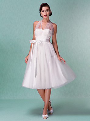 cheap Cocktail Dresses-A-Line Wedding Dresses Halter Neck Knee Length Satin Tulle Regular Straps Casual Vintage Little White Dress Plus Size with Bowknot Sash / Ribbon 2020