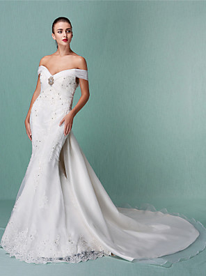 cheap Wedding Dresses-Mermaid / Trumpet Wedding Dresses Off Shoulder Chapel Train Organza Short Sleeve with Beading Appliques Crystal Floral Pin 2020 / Removable train