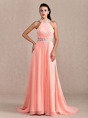 cheap Special Occasion Dresses-Sheath / Column Open Back Prom Formal Evening Military Ball Dress Halter Neck Sleeveless Court Train Chiffon with Criss Cross Beading Draping 2020