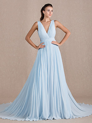 cheap Evening Dresses-A-Line Elegant Formal Evening Black Tie Gala Dress V Neck Sleeveless Chapel Train Georgette with Pleats 2020