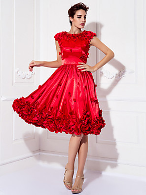 cheap Prom Dresses-A-Line Floral Red Cocktail Party Prom Dress Jewel Neck Short Sleeve Knee Length Stretch Satin with Appliques 2020
