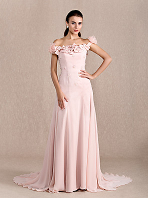 cheap Prom Dresses-Ball Gown Floral Formal Evening Dress Off Shoulder Short Sleeve Court Train Chiffon with Bow(s) Beading Flower 2020