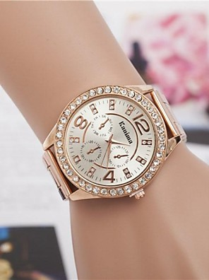 cheap Quartz Watches-Women's Luxury Watches Wrist Watch Diamond Watch Quartz Ladies Fake Three Eyes Six Needles Silver / Gold / Rose Gold Analog - Golden Rose Gold Silver One Year Battery Life / Jinli 377