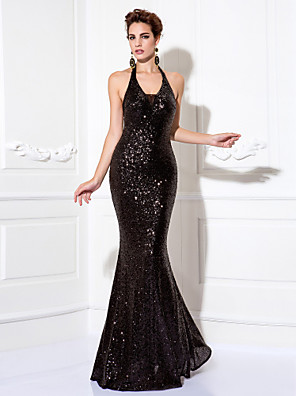 cheap Prom Dresses-Mermaid / Trumpet Sparkle Black Party Wear Formal Evening Dress Halter Neck Sleeveless Floor Length Sequined with Sequin 2020