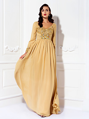 cheap Prom Dresses-A-Line Mother of the Bride Dress Elegant Plus Size V Neck Floor Length Chiffon Long Sleeve with Ruched Crystals Beading 2020