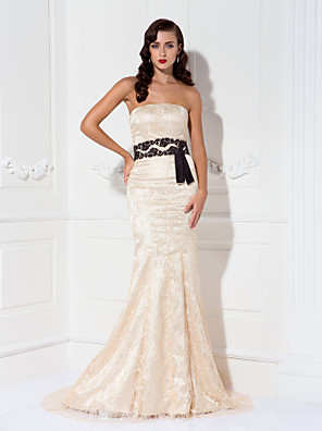 cheap Special Occasion Dresses-Mermaid / Trumpet Elegant Celebrity Style Formal Evening Military Ball Black Tie Gala Dress Strapless Sleeveless Sweep / Brush Train Lace with Sash / Ribbon Draping 2020