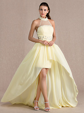 cheap Evening Dresses-Sheath / Column Open Back See Through Pastel Colors Formal Evening Dress Illusion Neck Sleeveless Asymmetrical Chiffon Tulle with Beading Draping 2020