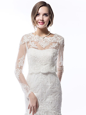 cheap Wedding Wraps-Long Sleeve Coats / Jackets Lace Wedding Wedding  Wraps With Appliques