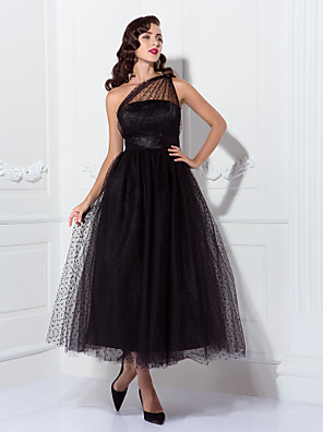 cheap Prom Dresses-A-Line Vintage Black Cocktail Party Prom Dress One Shoulder Sleeveless Ankle Length Tulle with Pleats Pattern / Print 2020