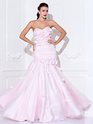 cheap Cocktail Dresses-Mermaid / Trumpet Open Back Prom Formal Evening Military Ball Dress Sweetheart Neckline Spaghetti Strap Sleeveless Floor Length Organza Satin with Beading Side Draping Flower 2020