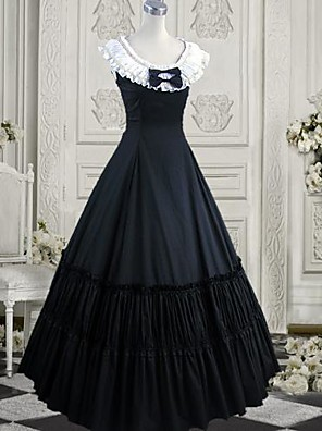 cheap Lolita Dresses-Dress Gothic Lolita Dress Ink Blue Lolita Accessories Dress Cravat Cotton Halloween Costumes