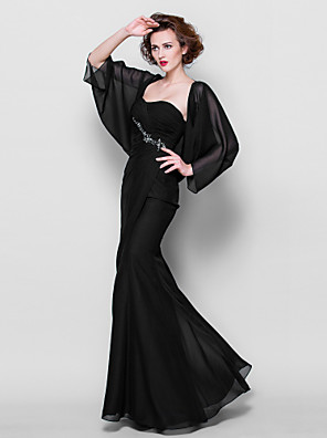 cheap Evening Dresses-Mermaid / Trumpet Mother of the Bride Dress Wrap Included Sweetheart Neckline Floor Length Chiffon 3/4 Length Sleeve with Beading 2020