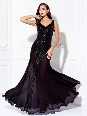 cheap Evening Dresses-A-Line Beaded & Sequin Prom Formal Evening Dress V Neck Sleeveless Floor Length Chiffon Sequined with Sequin 2020