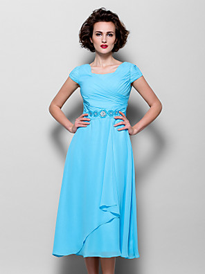 cheap Mother of the Bride Dresses-A-Line Mother of the Bride Dress Elegant Jewel Neck Tea Length Chiffon Short Sleeve with Beading Side Draping 2020