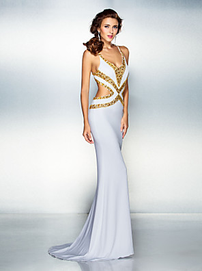 cheap Evening Dresses-Mermaid / Trumpet Sparkle White Engagement Formal Evening Dress V Neck Sleeveless Sweep / Brush Train Jersey with Crystals 2020