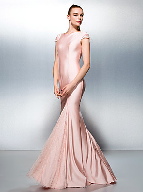 cheap Prom Dresses-Mermaid / Trumpet Minimalist Pastel Colors Holiday Cocktail Party Formal Evening Dress Jewel Neck Short Sleeve Sweep / Brush Train Jersey with Lace 2020