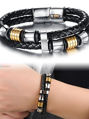 cheap Bridesmaid Dresses-Men's Leather Bracelet Layered Ladies Personalized Luxury Unique Design Fashion Leather Bracelet Jewelry Black For Christmas Gifts Wedding Party Daily Casual Sports / Titanium Steel / Gold Plated