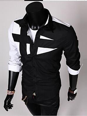 povoljno Muške košulje-Muškarci Dnevno Majica Color block Kolaž Dugih rukava Slim Tops Široki ovratnik Obala Crn Lila-roza / Proljeće / Jesen