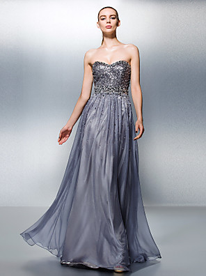cheap Evening Dresses-A-Line Celebrity Style Beaded & Sequin Prom Formal Evening Dress Sweetheart Neckline Sleeveless Floor Length Tencel with Beading Sequin 2020