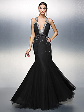 cheap Evening Dresses-A-Line Beautiful Back Prom Formal Evening Dress Plunging Neck Sleeveless Floor Length Chiffon Tulle with Ruched Draping 2020