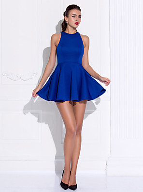 cheap Cocktail Dresses-Ball Gown Celebrity Style Cute Holiday Homecoming Cocktail Party Dress Jewel Neck Sleeveless Short / Mini Jersey with Pleats 2020 / Prom