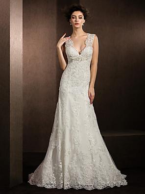 014458a61636 Ίσια Γραμμή Λαιμόκοψη V Ουρά μέτριου μήκους Όλο δαντέλα Φορέματα γάμου  φτιαγμένα στο μέτρο με Χάντρες