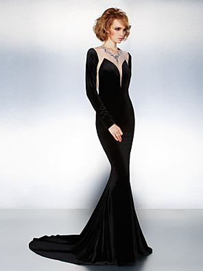 cheap Evening Dresses-Mermaid / Trumpet Formal Evening Black Tie Gala Dress Illusion Neck Long Sleeve Court Train Velvet with Crystals Beading 2020