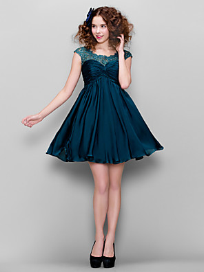 cheap Prom Dresses-Back To School A-Line Cocktail Party Prom Dress Illusion Neck Short Sleeve Short / Mini Satin Chiffon with Ruched Beading 2020 Hoco Dress
