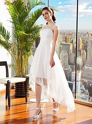 cheap Wedding Dresses-A-Line Wedding Dresses Bateau Neck Asymmetrical Chiffon Cap Sleeve Casual Vintage See-Through Backless with Sash / Ribbon Flower 2020