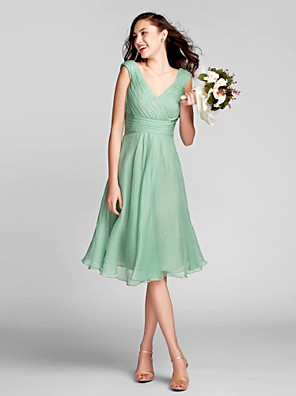 cheap Bridesmaid Dresses-A-Line V Neck Knee Length Chiffon Bridesmaid Dress with Draping / Criss Cross / Ruched