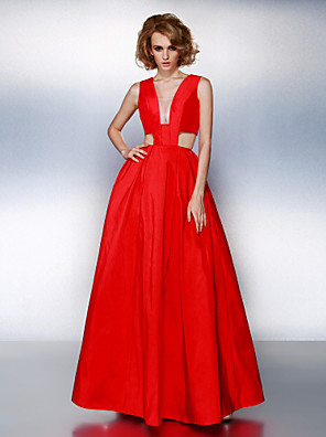 cheap Special Occasion Dresses-A-Line Prom Formal Evening Dress Plunging Neck Sleeveless Floor Length Taffeta with Sash / Ribbon Pleats 2020