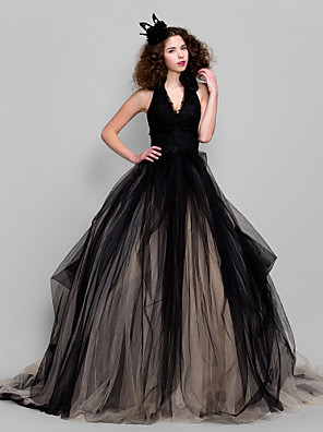 cheap Special Occasion Dresses-Ball Gown Honeymoon Holiday Cocktail Party Dress V Neck Sleeveless Floor Length Tulle with Appliques 2020 / Formal Evening