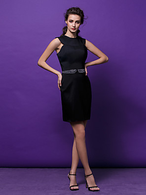 cheap Special Occasion Dresses-Back To School Sheath / Column Beautiful Back Cocktail Party Prom Company Party Dress Jewel Neck Sleeveless Short / Mini Satin with Sash / Ribbon Crystals Beading 2020 Hoco Dress
