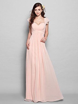 cheap Bridesmaid Dresses-A-Line Sweetheart Neckline Floor Length Chiffon Bridesmaid Dress with Draping / Ruffles / Ruched
