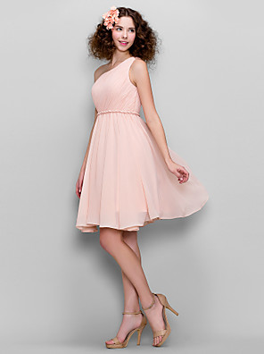 cheap Bridesmaid Dresses-A-Line One Shoulder Knee Length Chiffon Bridesmaid Dress with Side Draping