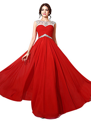cheap Special Occasion Dresses-A-Line Formal Evening Dress Bateau Neck Floor Length Chiffon with Beading 2020