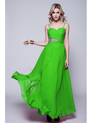 cheap Evening Dresses-Sheath / Column Formal Evening Dress Spaghetti Strap Sleeveless Floor Length Chiffon with Criss Cross Sequin 2020